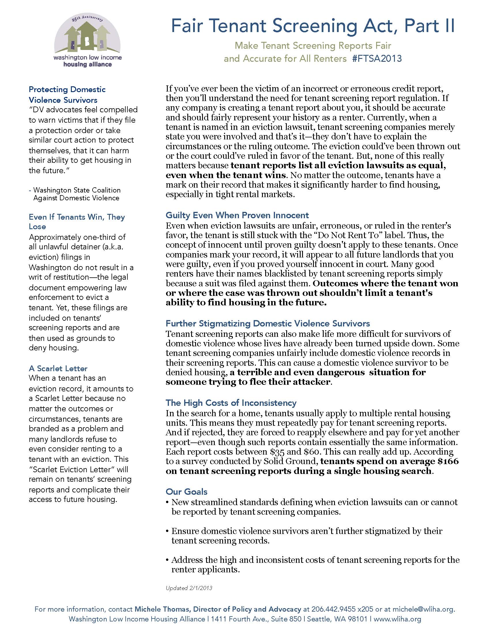 Fact Sheets and Publications | Washington Low Income Housing