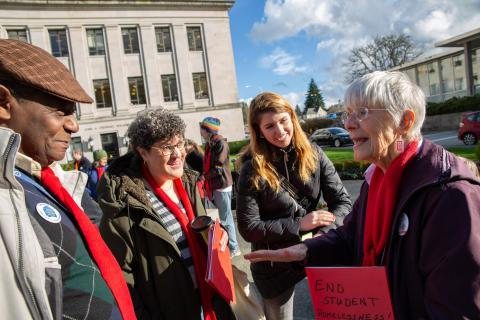 Affordable housing advocates talking on the Legislative Campus in Olympia